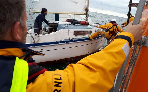 French solo yachtsman is rescued by the RNLI.  (Image: RNLI)
