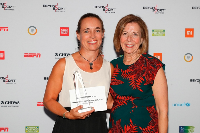Clean Seas - 'Turn the Tide on Plastic' Volvo Ocean Race receives the Beyond Sport Award for 'The Best Corporate Campaign or Initiative in Sport for Good' category. L: Anne-Cécile Turner