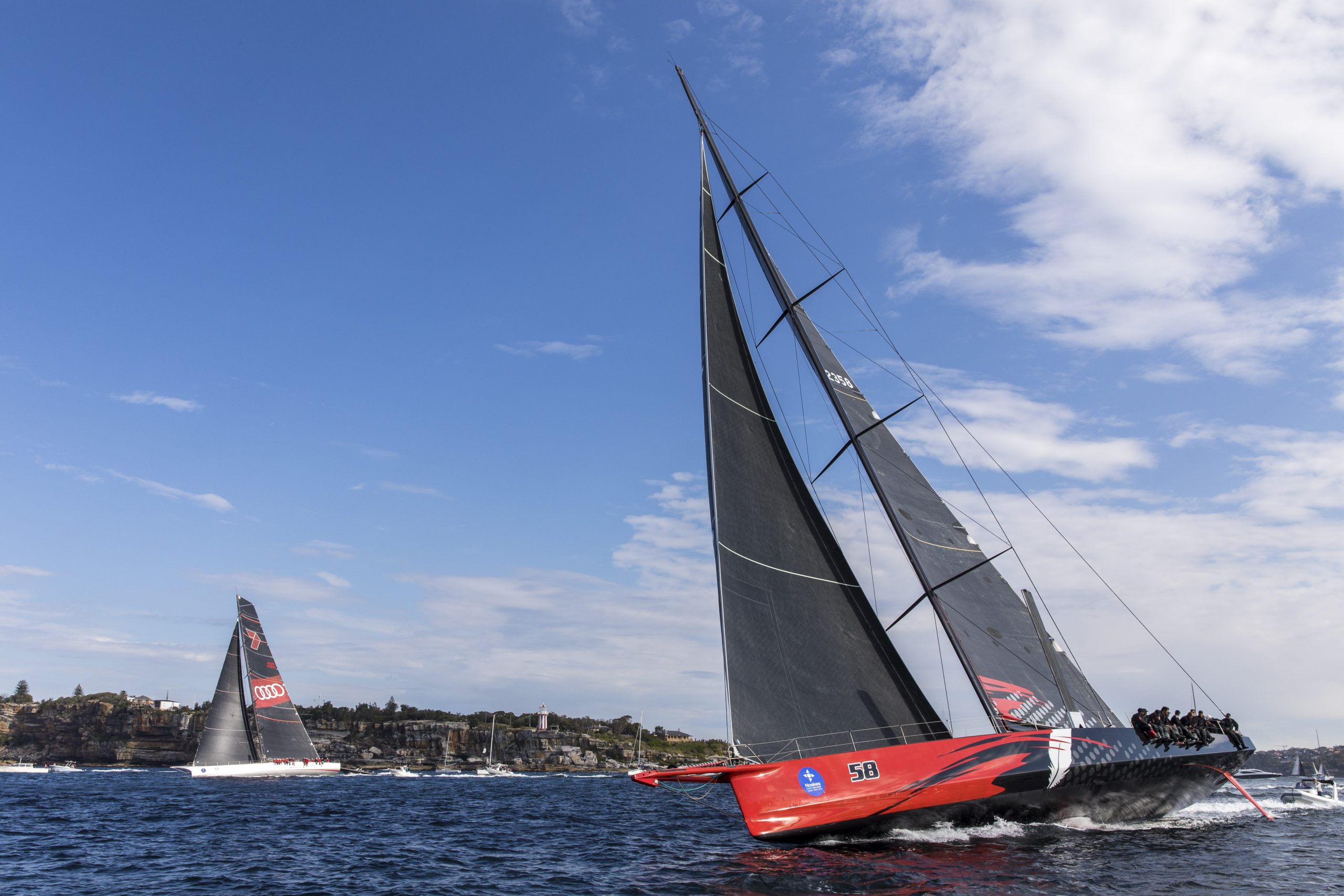 Comanche leads Wild Oats XI at the start of the Sydney Gold Coast race - Andrea Francolini pic