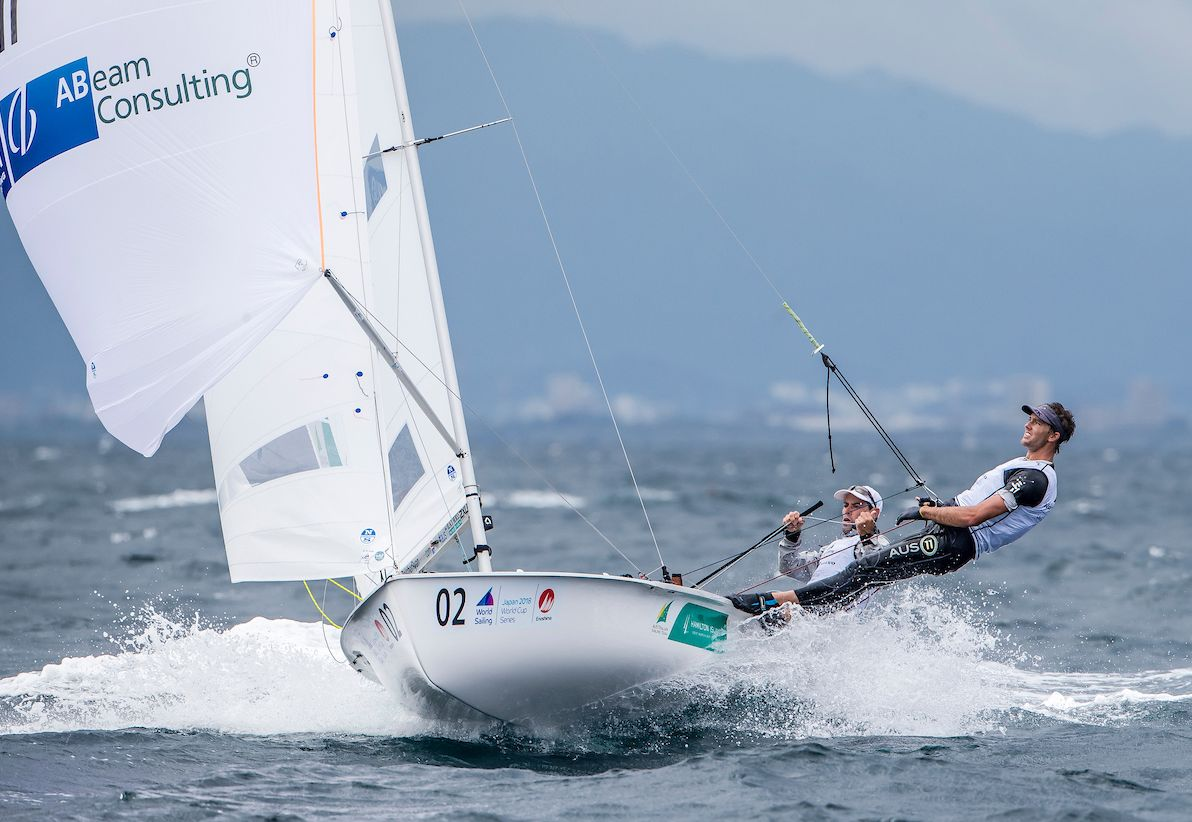 Mat Belcher and Will Ryan on their way to a second placing at the Enoshima test event. Photo ©JESUS RENEDO/SAILING ENERGY/ WORLD SAILING.