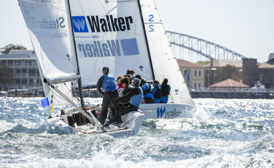 Crews battle it out on Day 2 of the Australian Women's Match Racing Championships in Sydney (credit Hamish Hardy