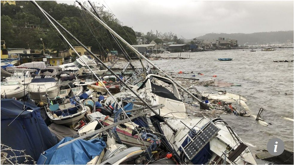 Boats washed ashore and wrecked during Typhoon Mangkhut. Photo South China Sea Post.