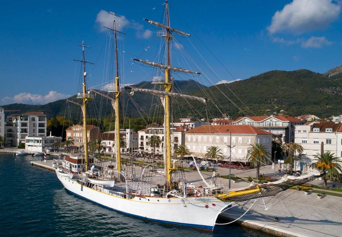 The training vessel 'Jadran' is moored in the port of Tivat