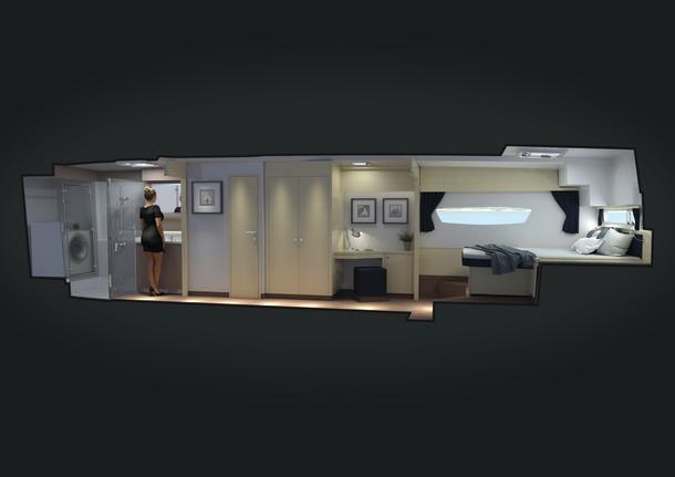 Clever visualisation of the owner's cabin arma. Sorry but the model is not included.