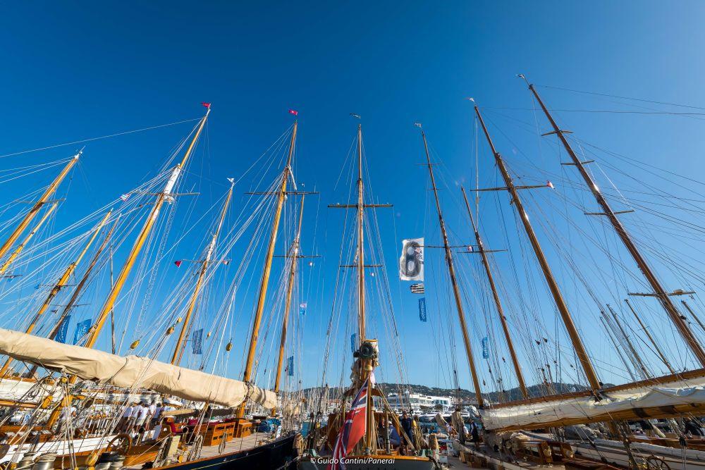 Classic yachts lined up at Régates Royales in Cannes. Photo Guido Cantini/Panerai.