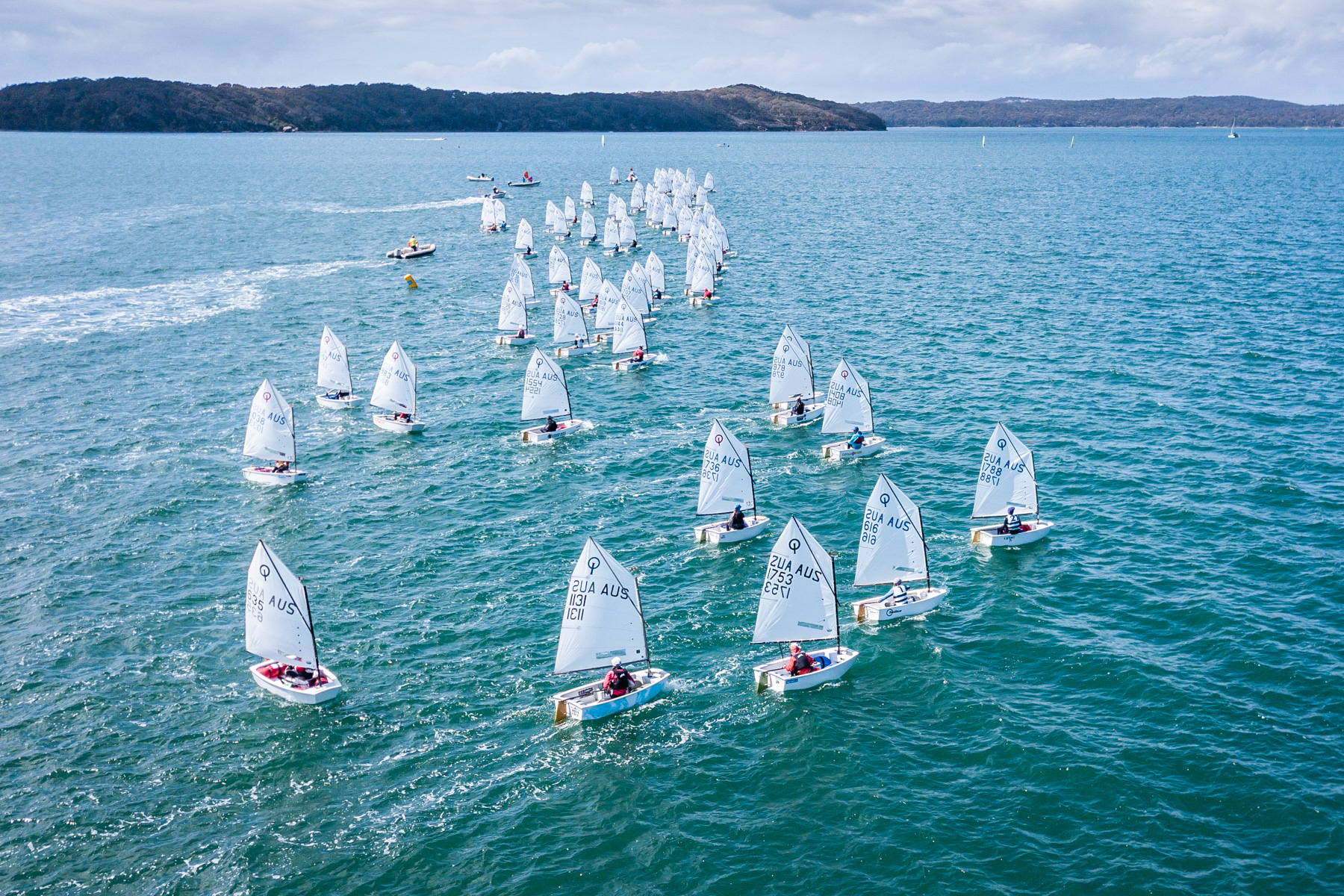 Drone shot of the Optimist start - Beau Outteridge pic