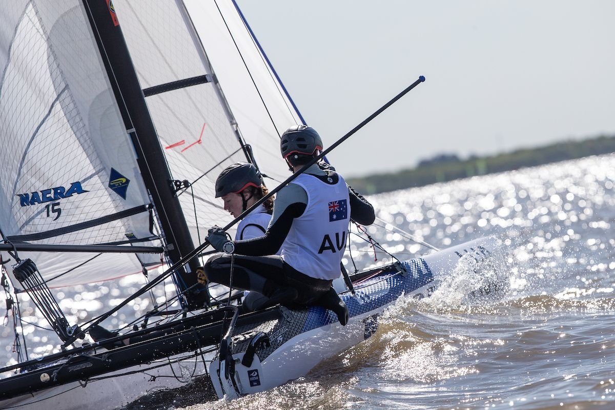 Will Cooley and Evie Haseldine in the Nacra 15 at the Youth Olympics. Photo © Matias Capizzano / World Sailing.