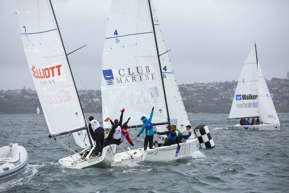 The solid breeze made for some action-packed prestarts on day 2. CREDIT - Hamish Hardy CYCA.