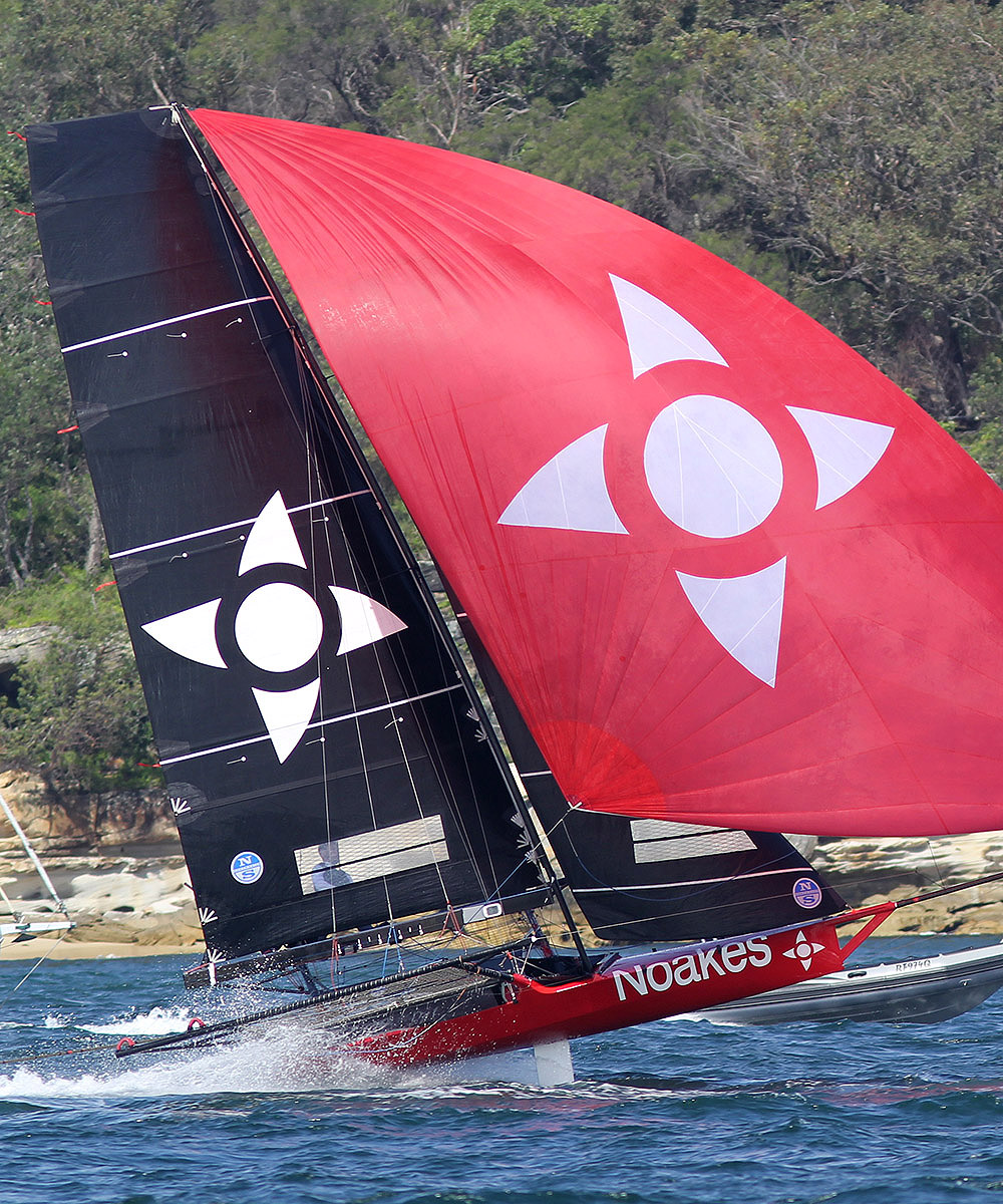 Noakesailing shows the form which led to her victory in Race 1 of the Spring Championship. Photo 18 Footers League.