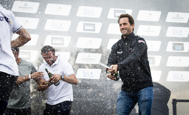 Sir Ben Ainslie celebrates his victory in the traditional manner. Photo: Sailing Energy / GC32 Racing Tour.