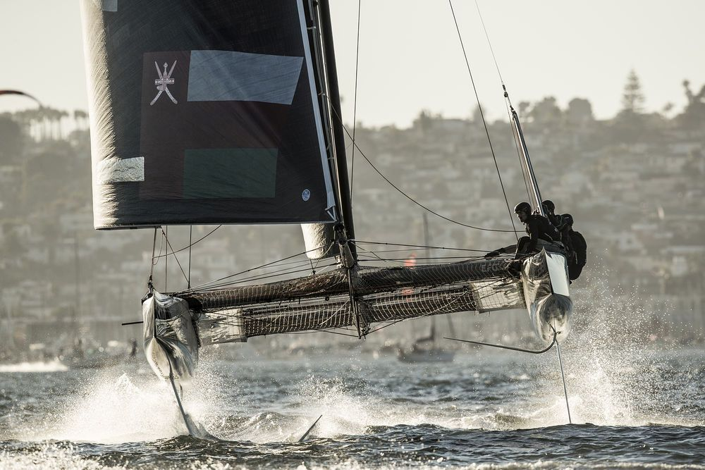 Extreme Sailing Series San Diego 2018 - Day two - Oman Air. Photo Lloyd Images.