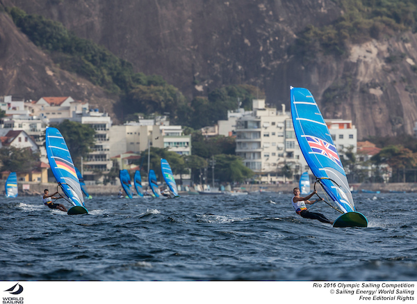Nick Dempsey (GBR) leads the fleet in the RS:X at Rio.  Photo Sailing Energy/World Sailing.