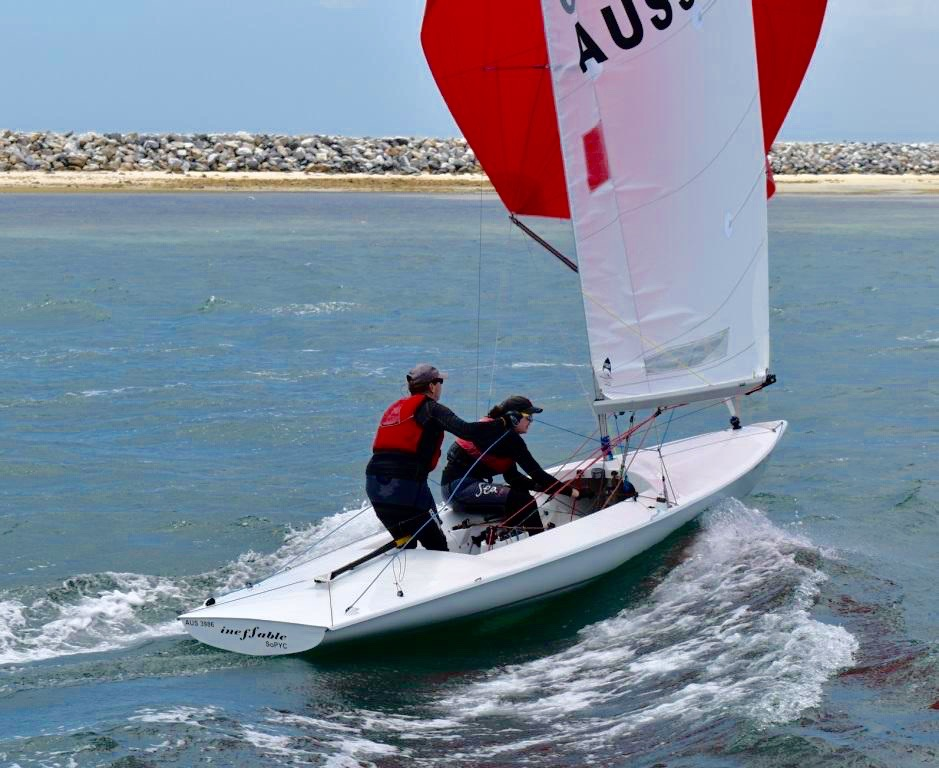 Ineffable leads the Australian Flying Fifteen Championships. Photo Nives Vincent.