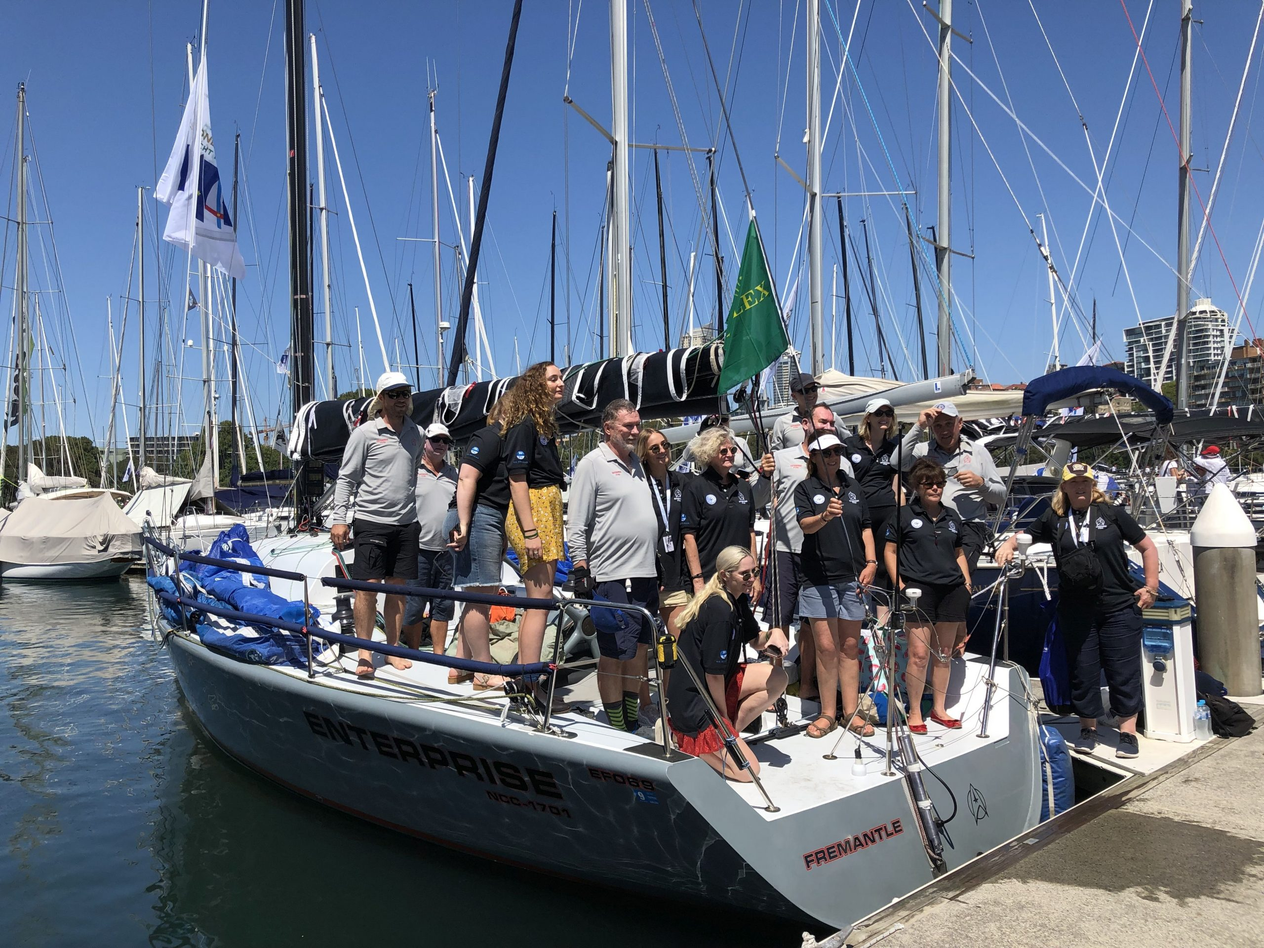 Enterprise crew and friends prior to the Sydney Hobart start - pic courtesy Enterprise