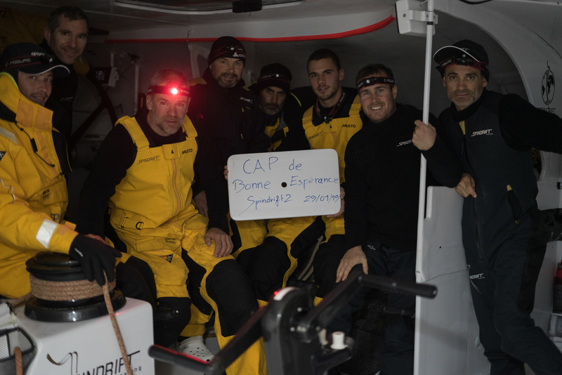 The Spindrift crew celebrate the first of five Capes. Photo © Christophe Espagnon / Spindrift racing