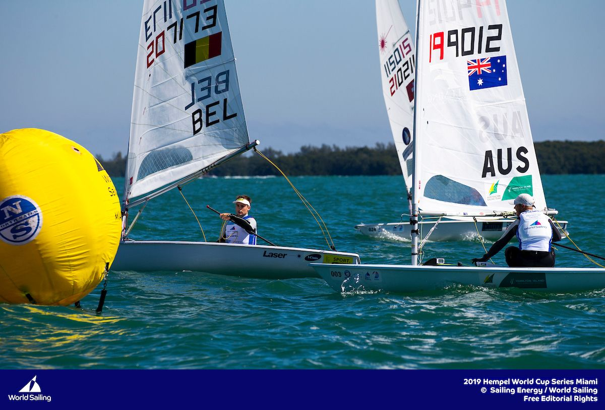 Mark rounding in the Laser at Miami World Cup. Photo Sailing Energy.