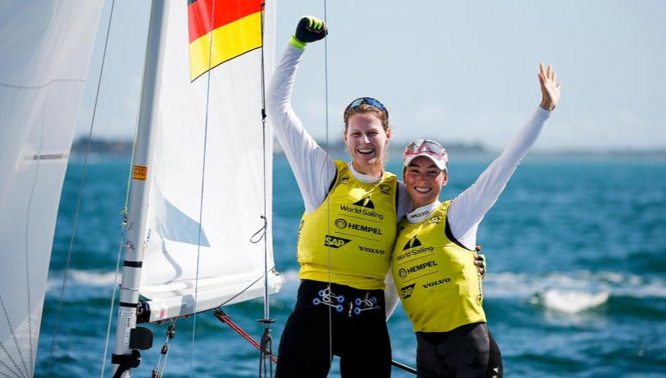 Frederike Loewe and Anna Markfort (GER) Miami 2019 470 winners. Photo Sailing Energy.