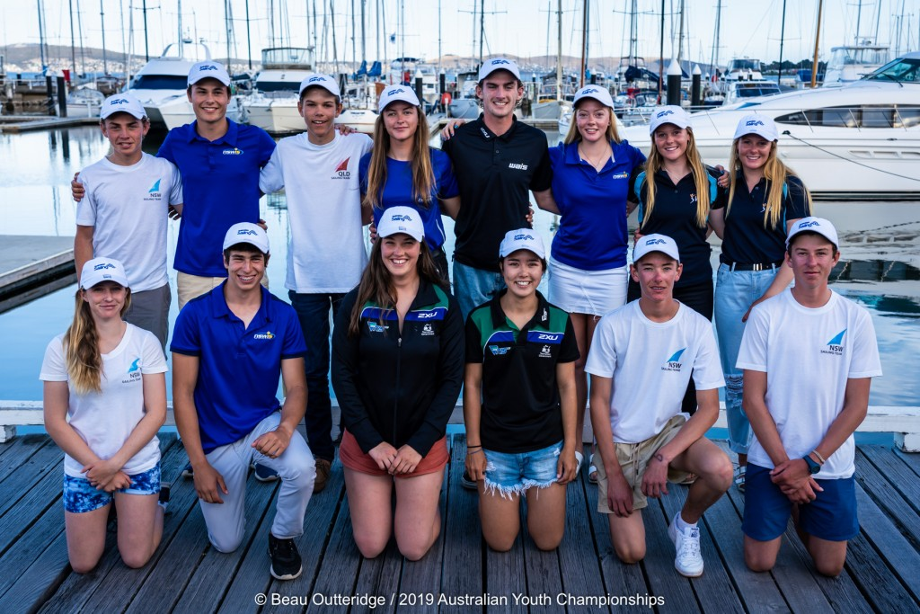2019 Australian team for the Youth Worlds. Photo Beau Outteridge/Australian Sailing.