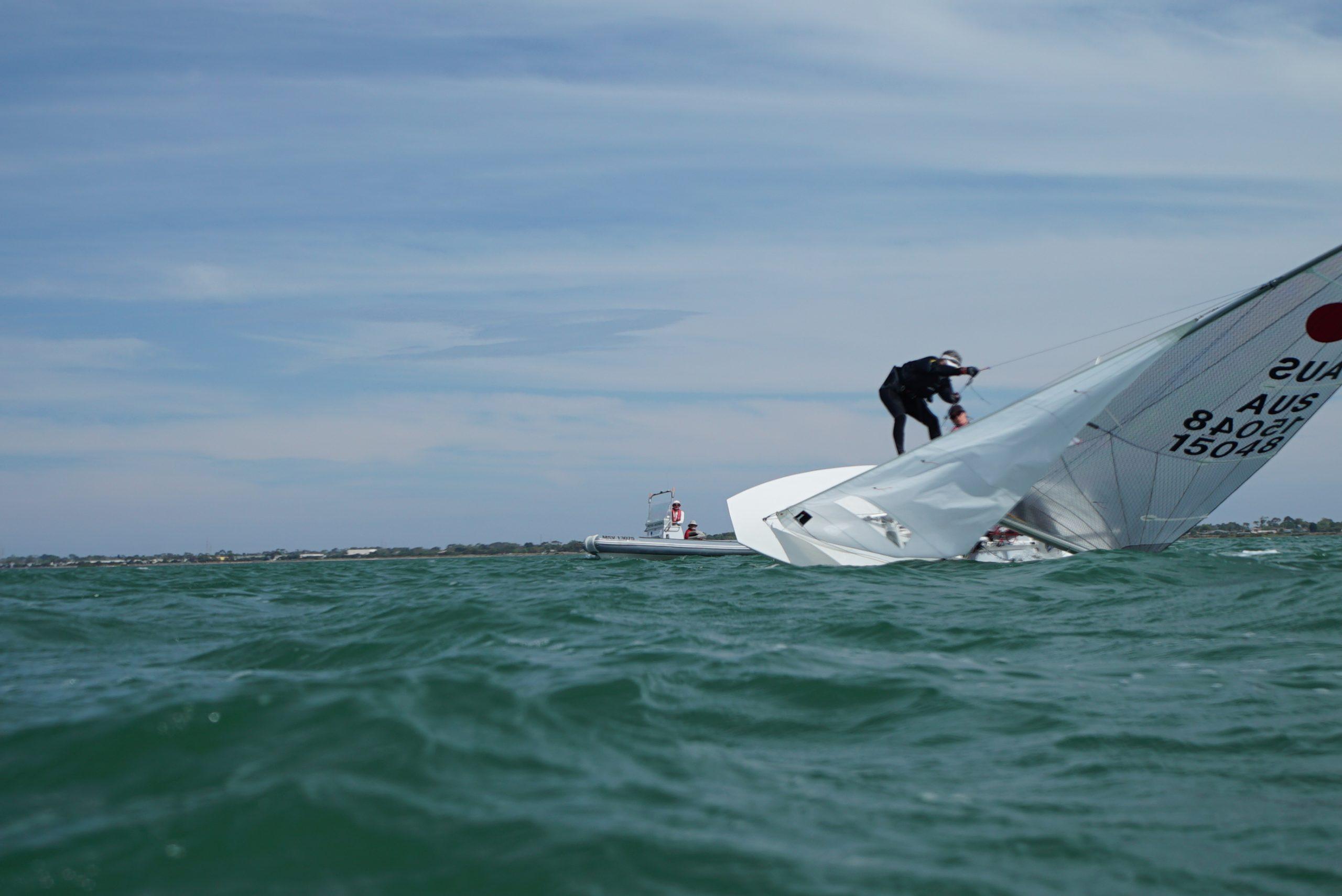 Heather Macfarlane and Chris Payne capsized during yesterday's racing. Photo Jordan Roberts.