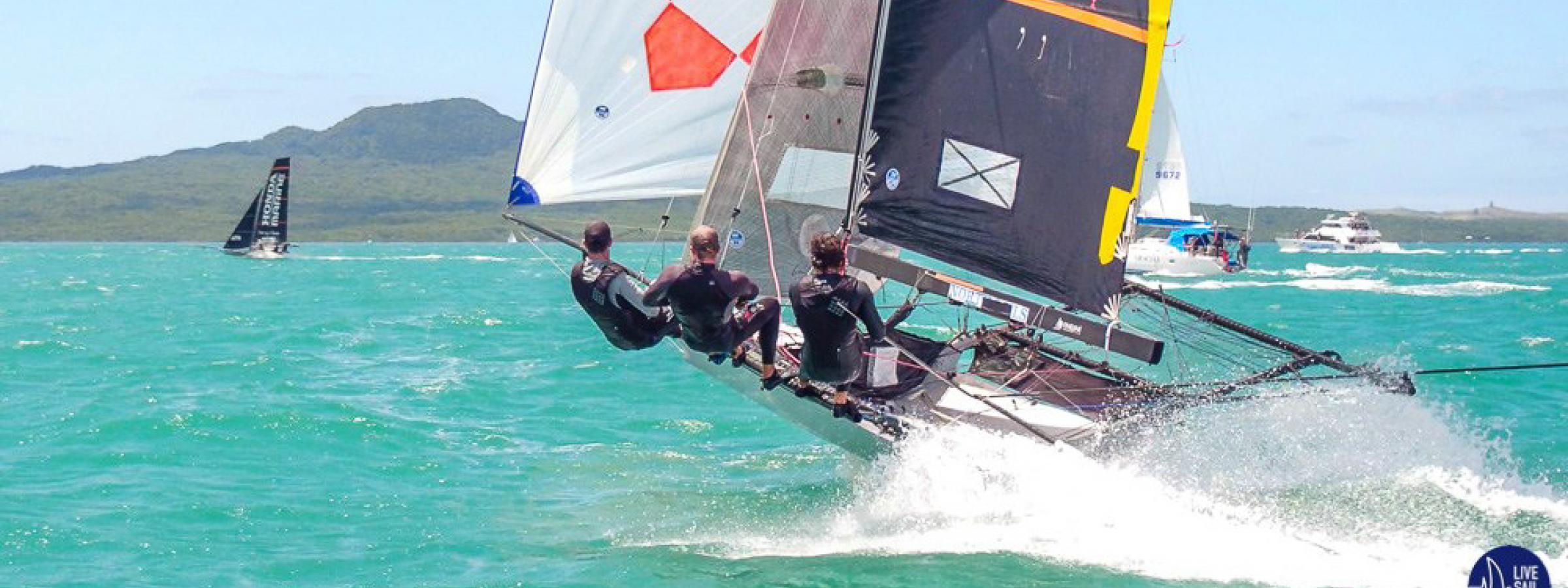 ASCC on their way to winning the 18' skiff national title. Photo: Suellen Davies / Live Sail Die.