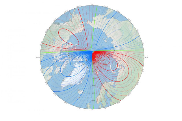 The new north: the white star shows the new location of the north magnetic pole and the magnetic declination (contour interval 2 degrees). (Image: NOAA NCEI/CIRES).