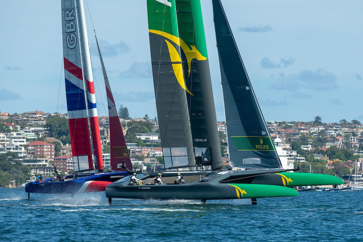 Tom Slingsby's Australian team powers past GBR on Day One of SailGP on Sydney Harbour. Photo Photo: Chris Cameron for SailGP.