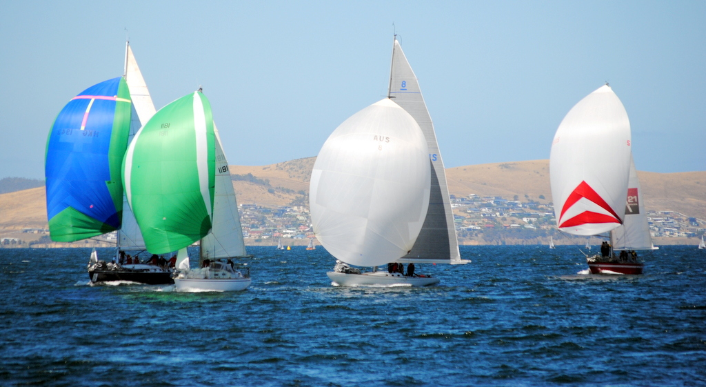 Running to the finish the Hobart Combined Clubs Summer Pennant race 7  in an 18 knot seabreeze. Photo Peter Campbell.