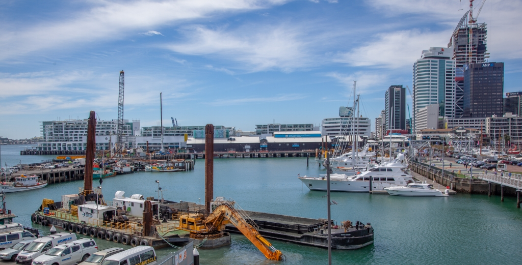 Dredging the Viaduct Harbour for the America's Cup.