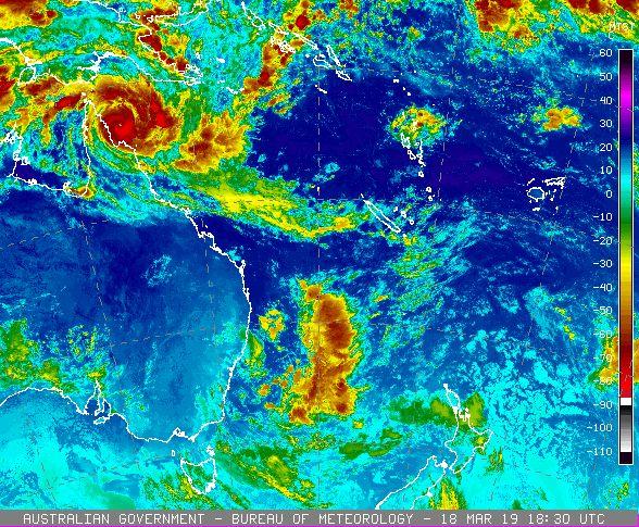 Images from Japan Meteorological Agency satellite Himawari 8 via Bureau of Meteorology.
