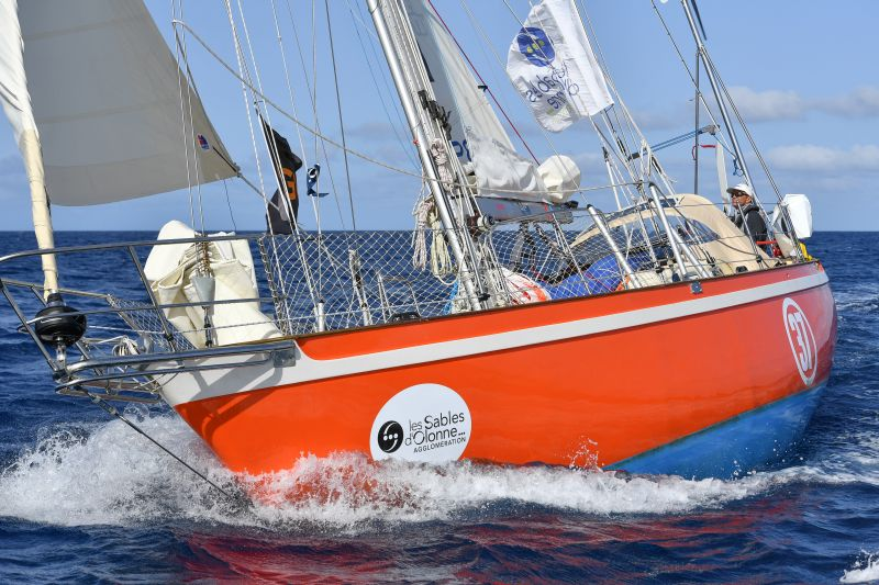 Istvan Kopar and his Tradewind 35 Puffin making good progress towards the Les Sables d'Olonne finish line today.