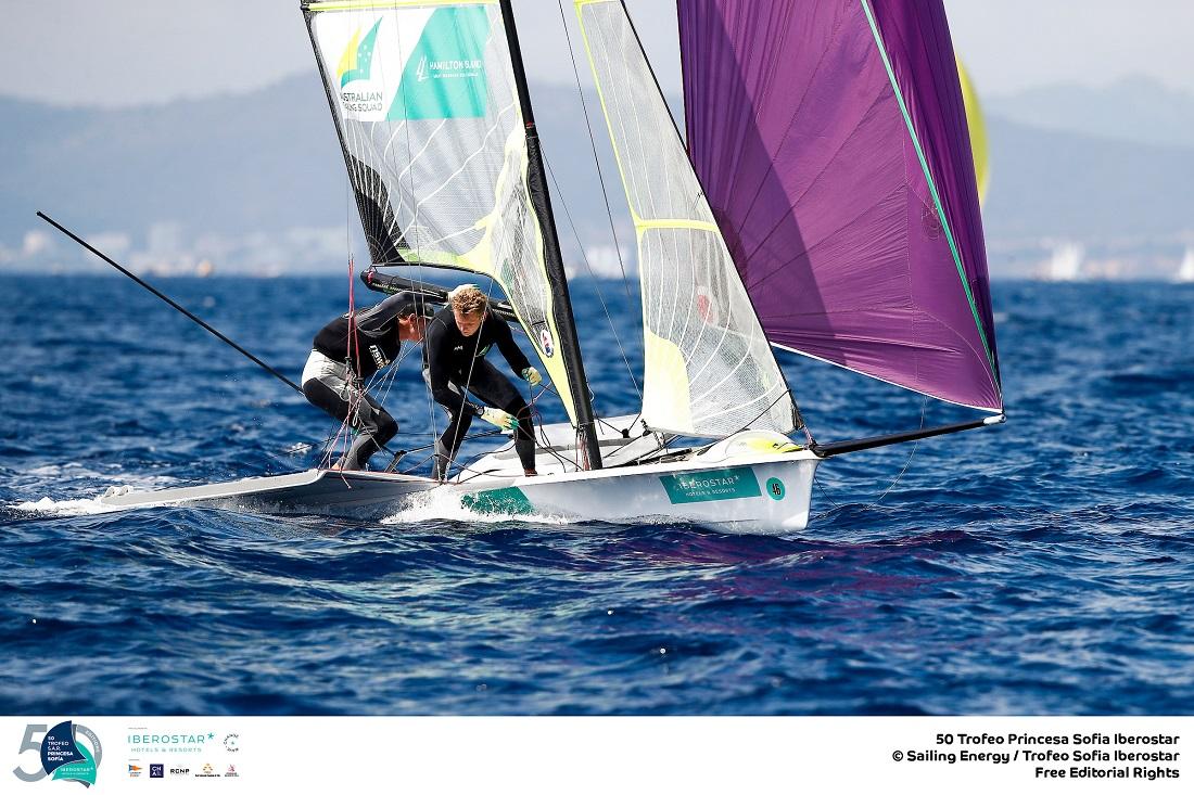Kurt Hansen and Simon Hoffman - Day 1 leaders in the 49er - credit Sailing Energy - Princess Sofia Trophy.
