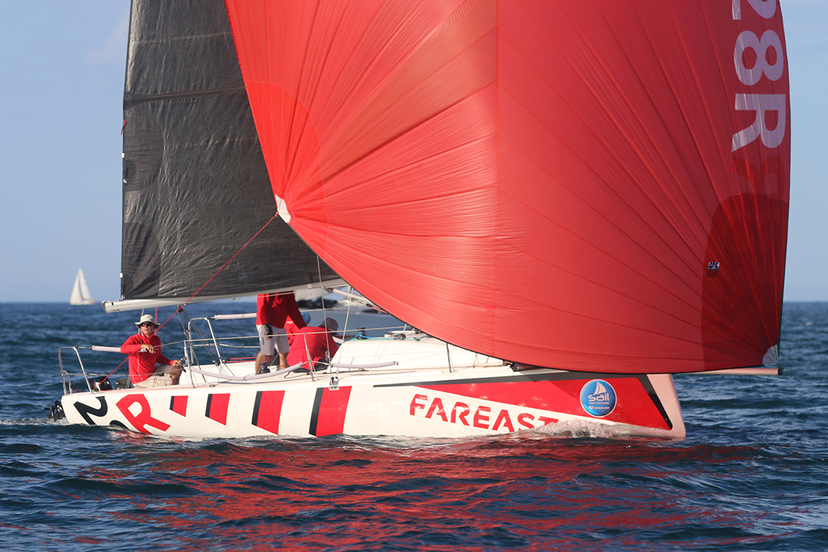 Fareast 28R wins race 2 of the Commodore's Cup at Sail Port Stephens 2019. Photo credit Mark Rothfield.