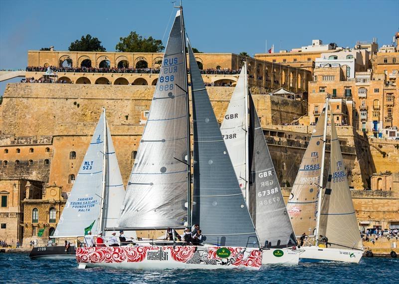"""JPK10.80 """"Bogatyr"""" winning the Middle Sea Race."""