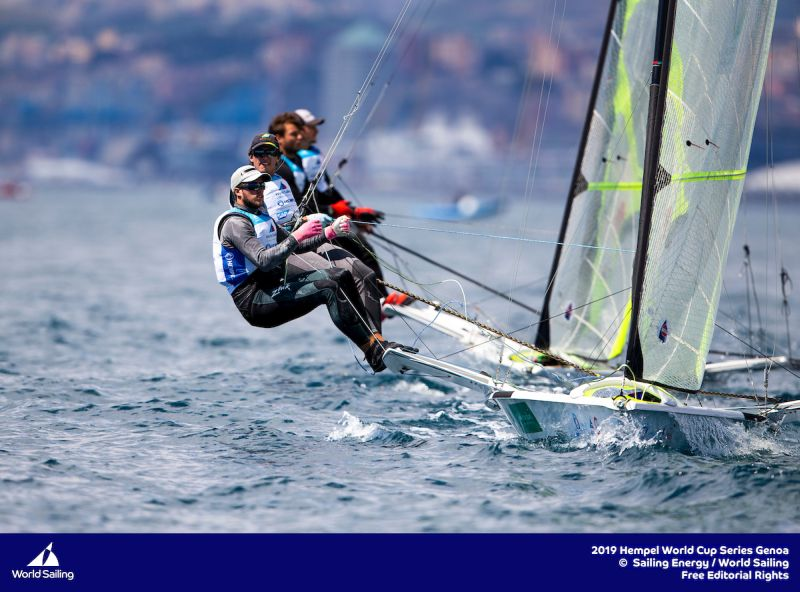 David and Lachy Gilmour in the 49er at Genoa. Photo Sailing Energy/World Sailing.