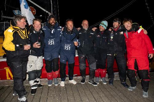 Crews celebrate the finish of the Defi Atlantique.
