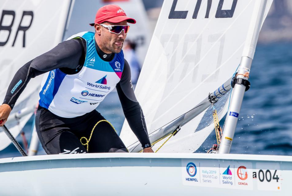 Tonci Stipanovic (CRO) on the first day of the Lasers at Sailing World Cup Genoa. Photo Sailing Energy/World Sailing.