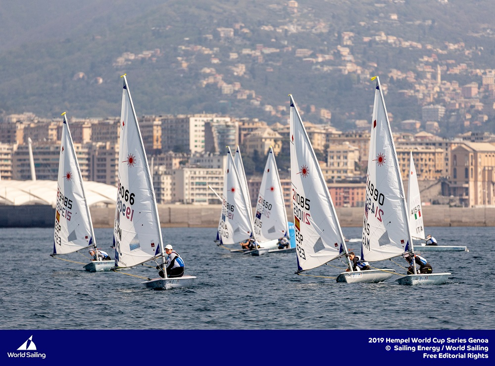 No breeze for the Laser Radials in Genoa. Photo Sailing Energy/World Sailing.