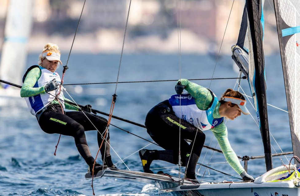 Odile van Aanholt and Marieke Jongens snapped-up-a-hat-trick-of-49erFX wins---Sailing-Energy-pic
