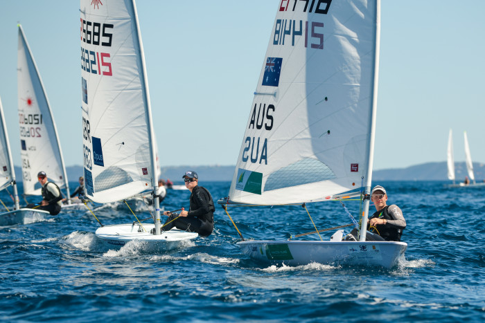 Perfect conditions for the Laser class at Hyeres 2019. Photo FFVoile / Eric Bellande.