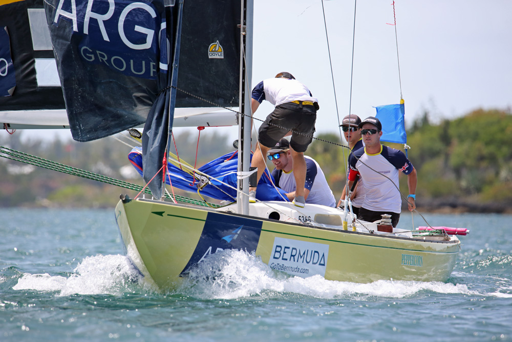 Australia's Harry Price (right) and his Down Under Racing team douse the spinnaker heading to a leeward mark on Day 1 of the Argo Group Gold Cup (©Charles Anderson photo).