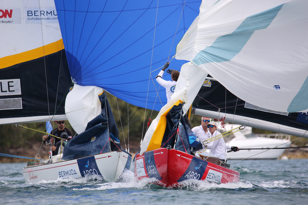Skipper Ian Williams leads Chris Poole of the U.S. during racing for the Argo Group Gold Cup on Hamilton Harbour (©Charles Anderson photo).