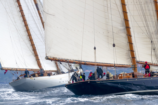 The mega-schooner match race continues between Naema and Mariette of 1915. Photo: Gianfranco Forza