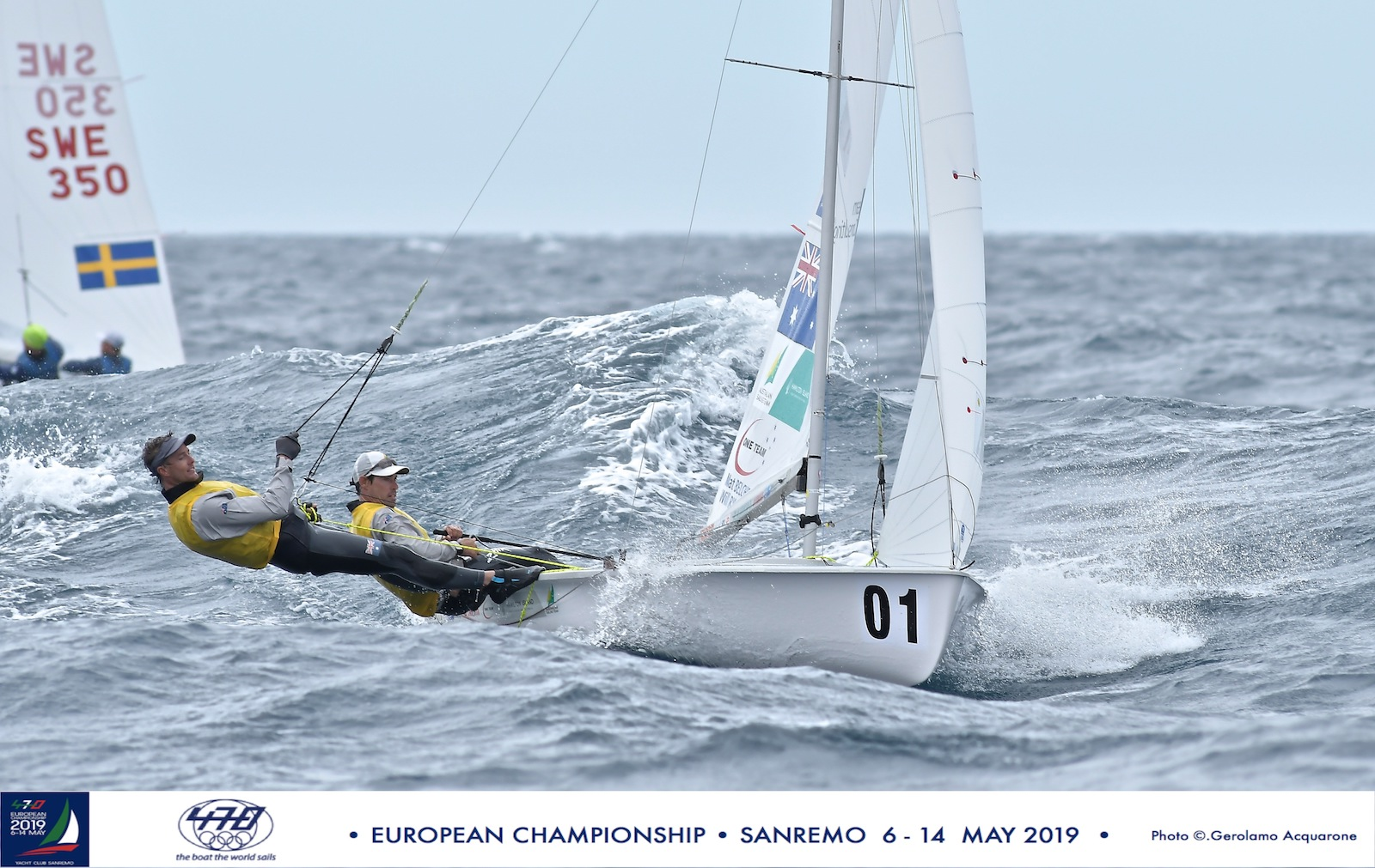 Mat Belcher and Will Ryan in testing conditions at the 2019 479 Europeans.