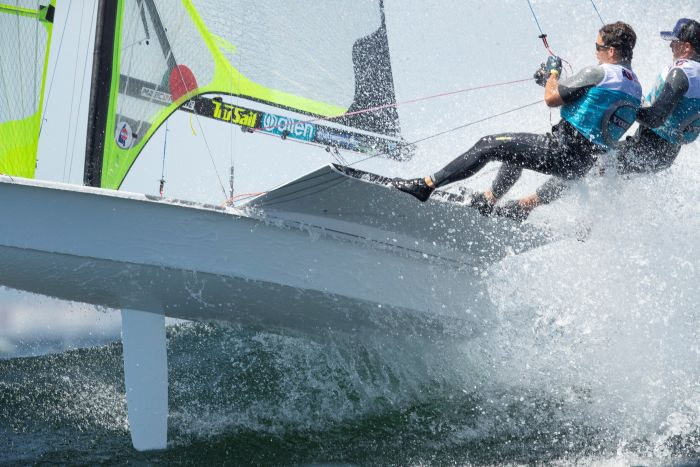 Airborne in the 49er at the 2019 Europeans.