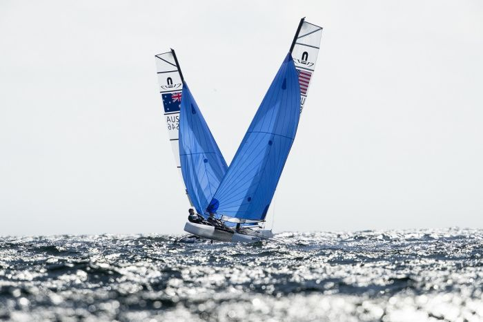 Nathan and Haylee Outteridge at close quarters with a USA entry - Drew Malcolm pic Nacra Europeans Weymouth.