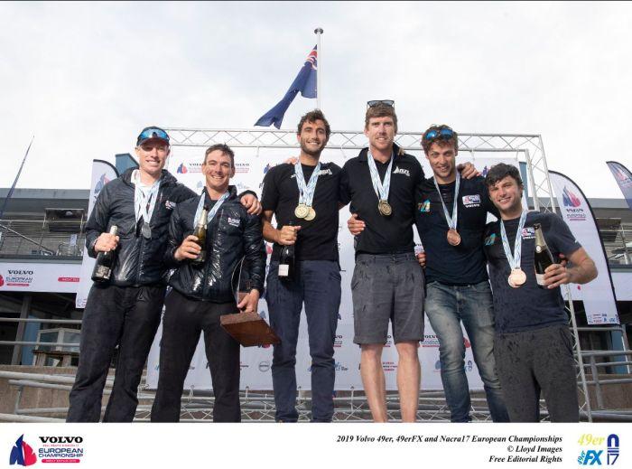 The 49er podium at the 2019 Europeans. Photo Lloyd Images.
