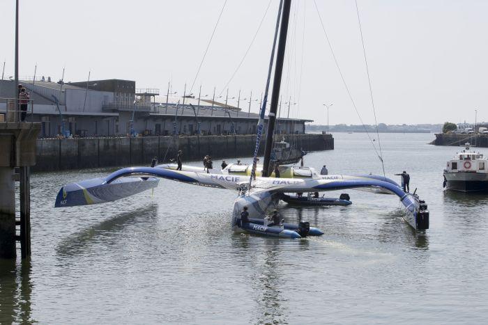 MACIF trimaran back in the water. Credit: Alexis Courcoux / Macif