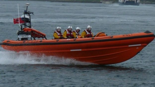 The RNLI Portaferry lifeboat went out to help the yacht . Photo RNLI.