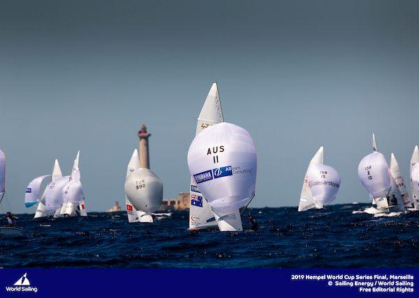 The familiar sight of AUS11 leading the 470 fleet downwind. Photo Sailing Energy/World Sailing.