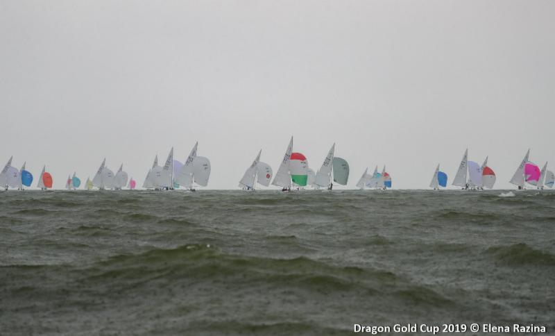 Dragon Gold Cup starts under leaden skies. Image courtesy of Elena Razina